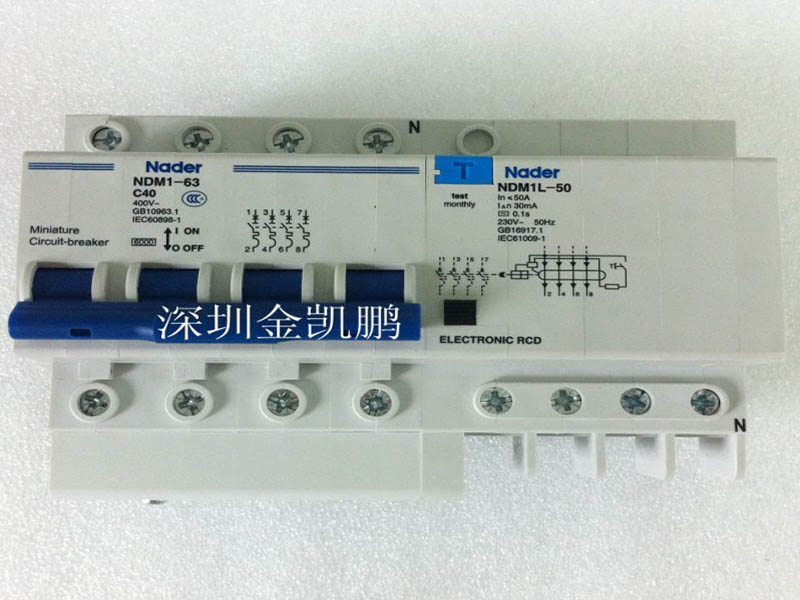 良信nader 小型断路器带剩余电流动作脱扣器 NDM1-63 C40 四级带NDM1L-50 C40/4 良信nader 小型断路器带剩余电流动作脱扣器 NDM1-63 C40 四级带NDM1L-50 C40/4 NDM1L系列剩余电流动作脱扣器--良信 加装于NDM1系列小型断路器右侧,对对地漏电、人体直接或间接触点等故障进行保护 符合标准 NDM1L-32、50:GB16917.